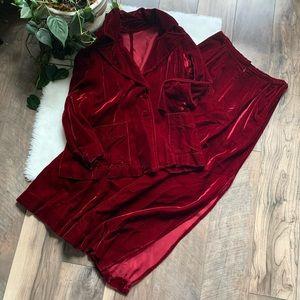 Vintage 70's 80's velvet skirt set Sz M